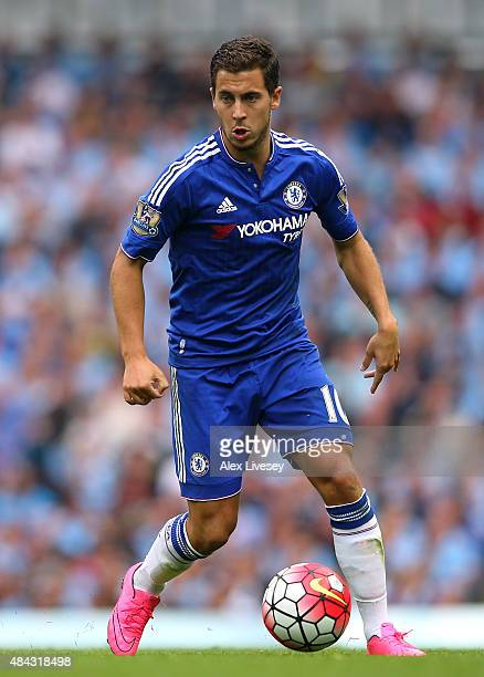 Eden Hazard of Chelsea during the Barclays Premier League match between Manchester City and Chelsea at Etihad Stadium on August 16 2015 in Manchester...