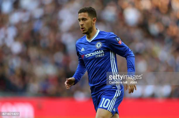 Eden Hazard of Chelsea during the Emirates FA Cup semifinal match between Tottenham Hotspur and Chelsea at Wembley Stadium on April 22 2017 in London...