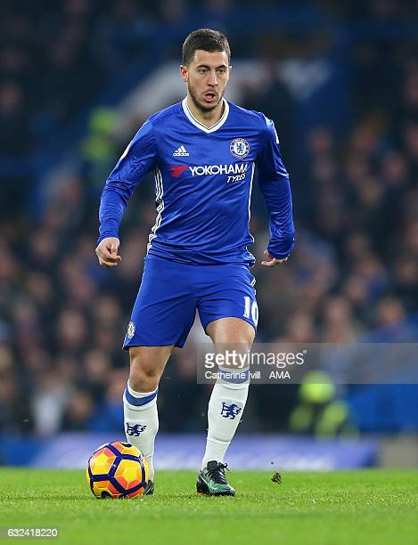 Eden Hazard of Chelsea during the Premier League match between Chelsea and Hull City at Stamford Bridge on January 22 2017 in London England