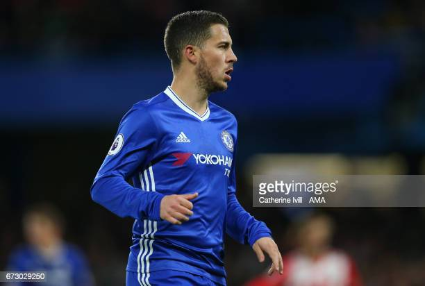 Eden Hazard of Chelsea during the Premier League match between Chelsea and Southampton at Stamford Bridge on April 25 2017 in London England