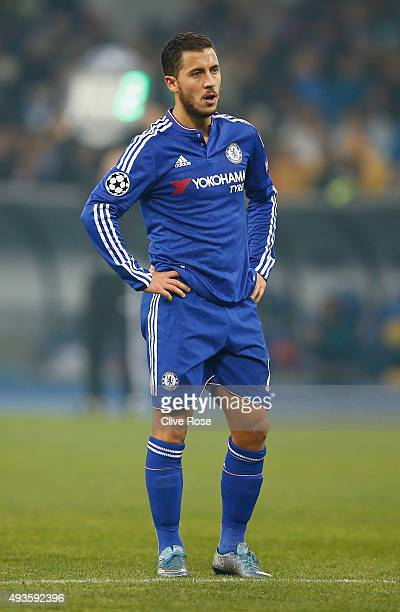 Eden Hazard of Chelsea during the UEFA Champions League Group G match between FC Dynamo Kyiv and Chelsea at the Olympic Stadium on October 20 2015 in...