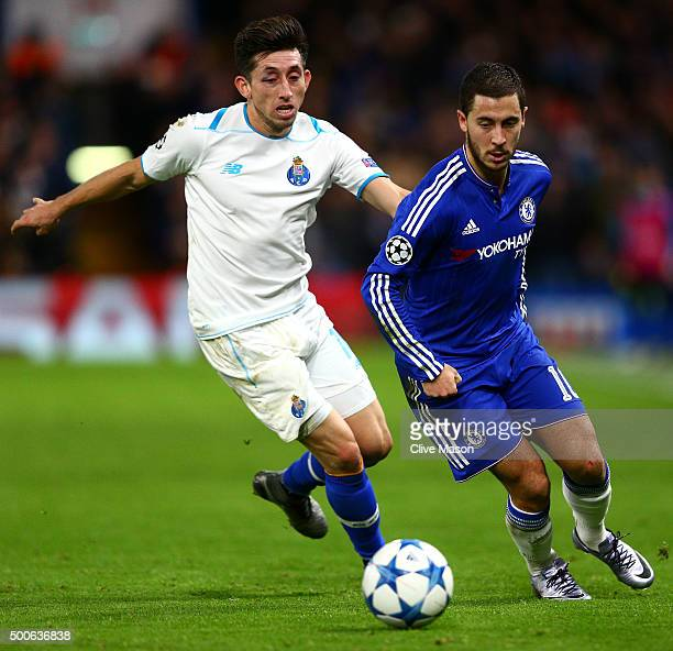 Eden Hazard of Chelsea evades Hector Herrera of FC Porto during the UEFA Champions League Group G match between Chelsea FC and FC Porto at Stamford...