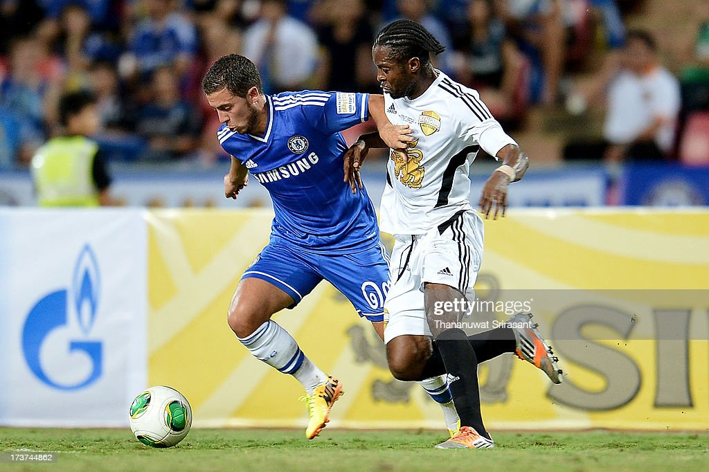 Eden Hazard of Chelsea FC during the international friendly match between Chelsea FC and the Singha Thailand All-Star XI at Rajamangala Stadium on July 17, 2013 in Bangkok, Thailand.