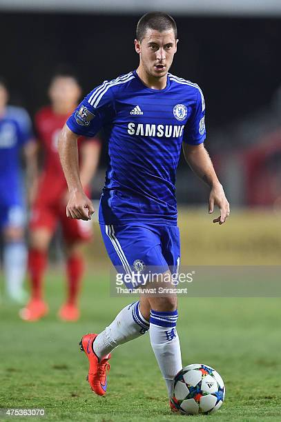 Eden Hazard of Chelsea FC runs with the ball during the international friendly match between Thailand AllStars and Chelsea FC at Rajamangala Stadium...