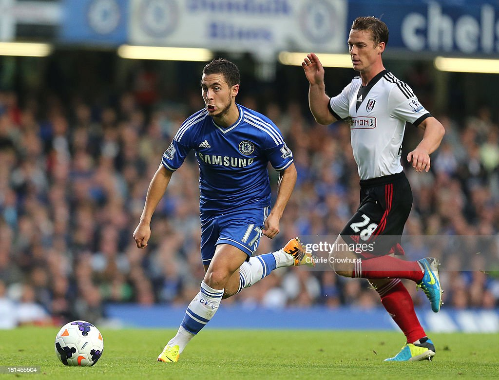 <a gi-track='captionPersonalityLinkClicked' href=/galleries/search?phrase=Eden+Hazard&family=editorial&specificpeople=5539543 ng-click='$event.stopPropagation()'>Eden Hazard</a> of Chelsea gets away from Fulham's Scott Parker during the Barclays Premier League match between Chelsea and Fulham at Stamford Bridge on September 21, 2013 in London, England.