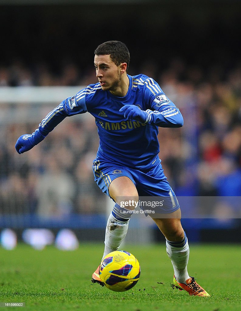 Eden Hazard of Chelsea in action during the Barclays Premier League match between Chelsea and Wigan Athletic at Stamford Bridge on February 9, 2013 in London, England.