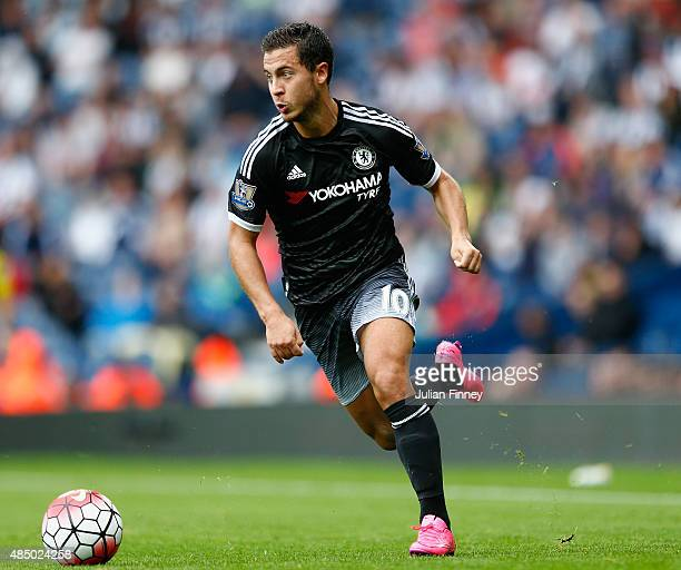 Eden Hazard of Chelsea in action during the Barclays Premier League match between West Bromwich Albion and Chelsea at the Hawthorns on August 23 2015...