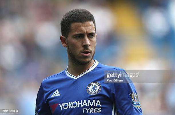 Eden Hazard of Chelsea in action during the Barclays Premier League match between Chelsea and Leicester City at Stamford Bridge on May 15 2016 in...
