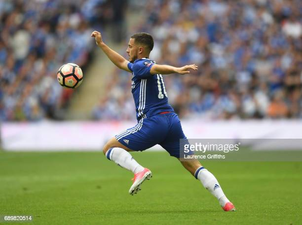 Eden Hazard of Chelsea in action during the Emirates FA Cup Final between Arsenal and Chelsea at Wembley Stadium on May 27 2017 in London England