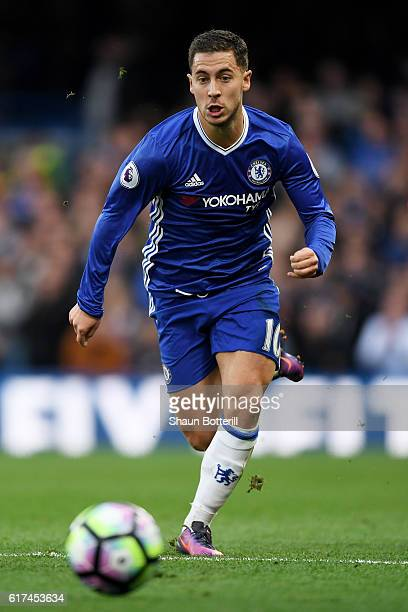 Eden Hazard of Chelsea in action during the Premier League match between Chelsea and Manchester United at Stamford Bridge on October 23 2016 in...