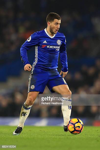 Eden Hazard of Chelsea in action during the Premier League match between Chelsea and Hull City at Stamford Bridge on January 22 2017 in London England