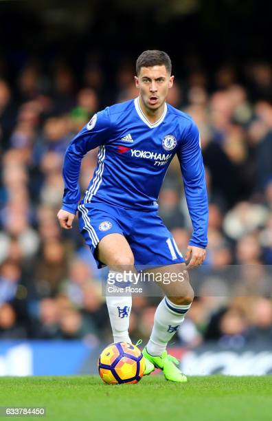 Eden Hazard of Chelsea in action during the Premier League match between Chelsea and Arsenal at Stamford Bridge on February 4 2017 in London England