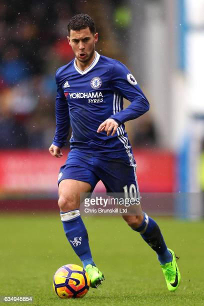 Eden Hazard of Chelsea in action during the Premier League match between Burnley and Chelsea at Turf Moor on February 12 2017 in Burnley England