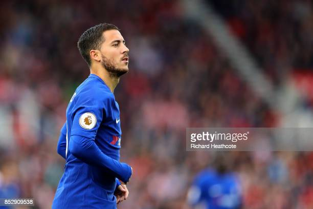 Eden Hazard of Chelsea in action during the Premier League match between Stoke City and Chelsea at Bet365 Stadium on September 23 2017 in Stoke on...