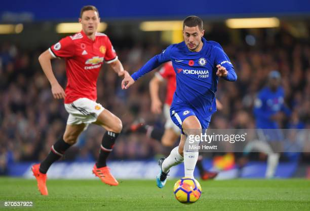 Eden Hazard of Chelsea in action during the Premier League match between Chelsea and Manchester United at Stamford Bridge on November 5 2017 in...