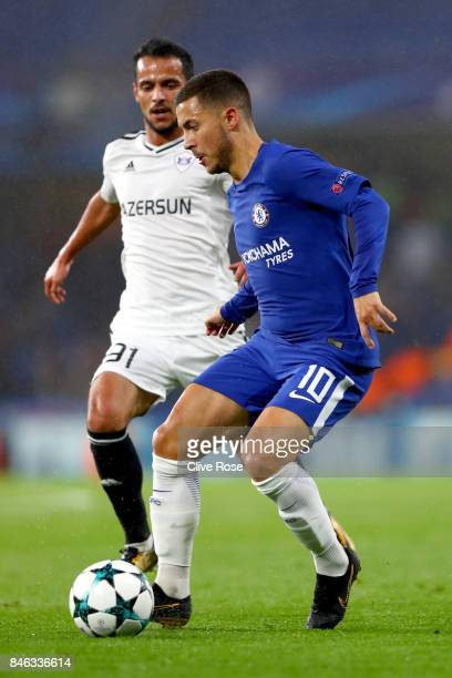 Eden Hazard of Chelsea in action during the UEFA Champions League Group C match between Chelsea FC and Qarabag FK at Stamford Bridge on September 12...