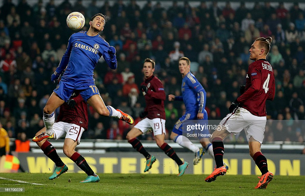 Eden Hazard of Chelsea in action during the UEFA Europa League match between AC Sparta Praha and Chelsea on February 14, 2013 in Prague, Czech Republic.