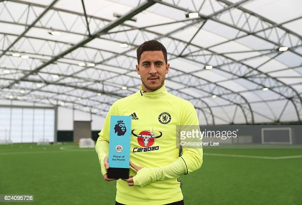 Eden Hazard of Chelsea is awarded the October Player of the Month at the Chelsea Training Ground on November 17 2016 in Cobham England