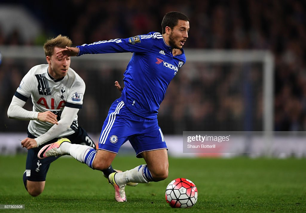Eden Hazard of Chelsea is brought down by Christian Eriksen of Tottenham Hotspur during the Barclays Premier League match between Chelsea and Tottenham Hotspur at Stamford Bridge on May 02, 2016 in London, England.jd