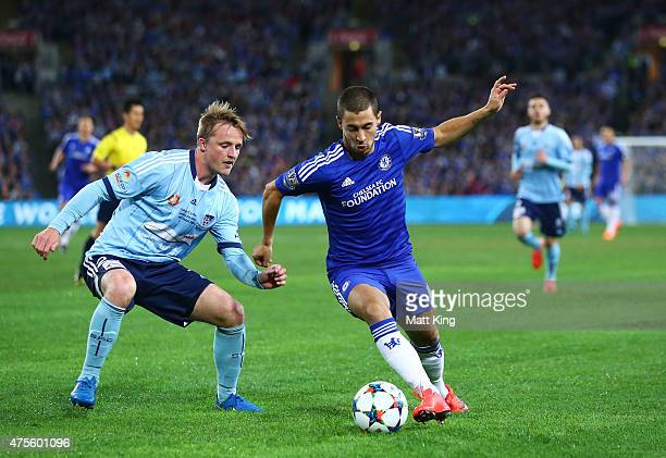 Eden Hazard of Chelsea is challenged by Rhyan Grant of Sydney FC during the international friendly match between Sydney FC and Chelsea FC at ANZ...