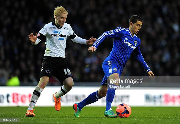 Eden Hazard of Chelsea is marked by Will Hughes of Derby during the Budweiser FA Cup Third Round match between Derby County and Chelsea at iPro...
