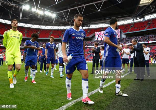 Eden Hazard of Chelsea looks dejected after the Emirates FA Cup Final between Arsenal and Chelsea at Wembley Stadium on May 27 2017 in London England