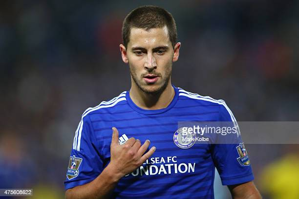 Eden Hazard of Chelsea looks on during the international friendly match between Sydney FC and Chelsea FC at ANZ Stadium on June 2 2015 in Sydney...