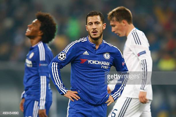 Eden Hazard of Chelsea looks on during the UEFA Champions League Group G match between FC Dynamo Kyiv and Chelsea at the Olympic Stadium on October...