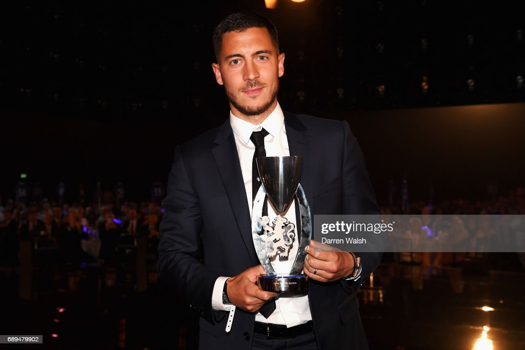 Eden Hazard of Chelsea poses with the Goal of the season award during the Chelsea Player of the Year awards at Battersea Evolution on May 28, 2017 in London, England.