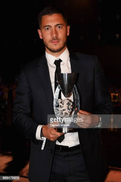 Eden Hazard of Chelsea poses with the Goal of the season award during the Chelsea Player of the Year awards at Battersea Evolution on May 28 2017 in...