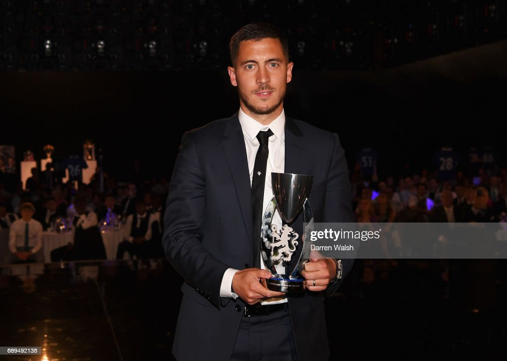 Eden Hazard of Chelsea poses with the Player of The Year award during the Chelsea Player of the Year awards at Battersea Evolution on May 28, 2017 in London, England.