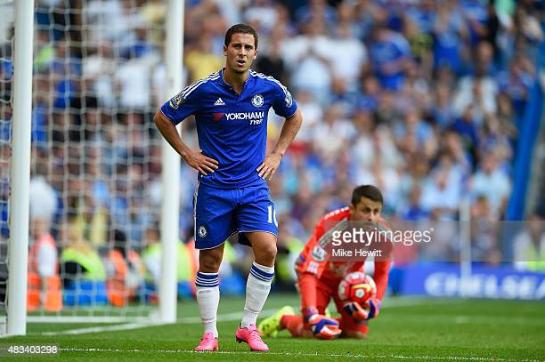 Eden Hazard of Chelsea reacts during the Barclays Premier League match between Chelsea and Swansea City at Stamford Bridge on August 8 2015 in London...