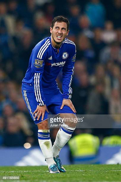 Eden Hazard of Chelsea reacts during the Barclays Premier League match between Chelsea and Southampton at Stamford Bridge on October 3 2015 in London...