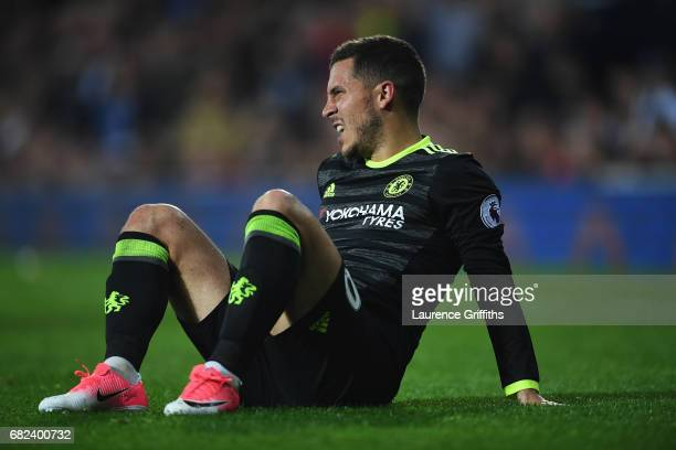 Eden Hazard of Chelsea reacts during the Premier League match between West Bromwich Albion and Chelsea at The Hawthorns on May 12 2017 in West...