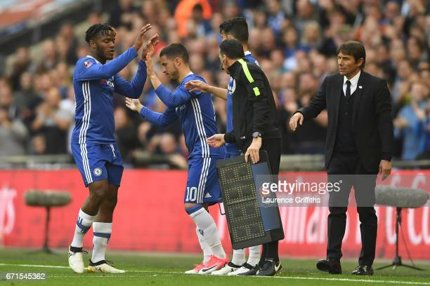 Eden Hazard of Chelsea replaces Michy Batshuayi of Chelsea during The Emirates FA Cup SemiFinal between Chelsea and Tottenham Hotspur at Wembley...