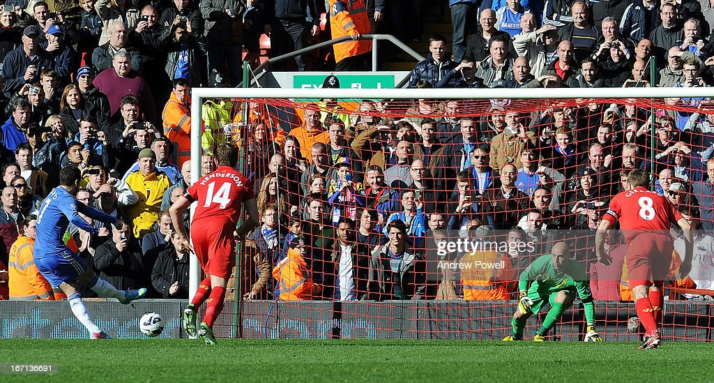 Eden Hazard of Chelsea scores a penalty goal during the Barclays Premier League match between Liverpool and Chelsea at Anfield on April 21, 2013 in Liverpool, England.