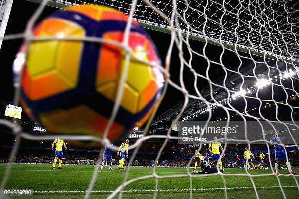 Eden Hazard of Chelsea scores his sides first goal during the Premier League match between Chelsea and Everton at Stamford Bridge on November 5 2016...