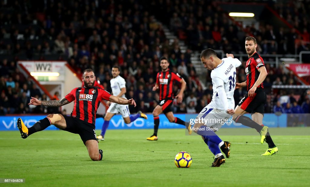 Eden Hazard of Chelsea scores his sides first goal during the Premier League match between AFC Bournemouth and Chelsea at Vitality Stadium on October 28, 2017 in Bournemouth, England.