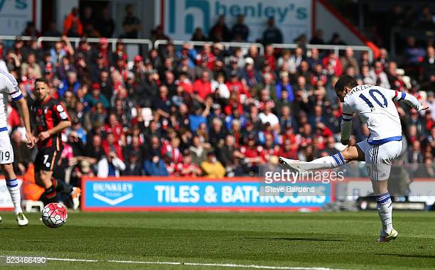 Eden Hazard of Chelsea scores his sides second goal during the Barclays Premier League match between AFC Bournemouth and Chelsea at the Vitality...