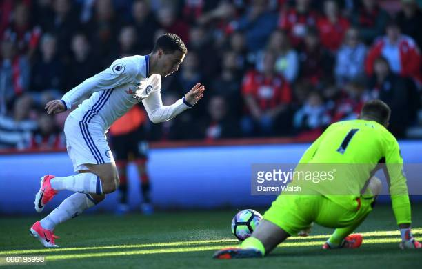 Eden Hazard of Chelsea scores his sides second goal during the Premier League match between AFC Bournemouth and Chelsea at Vitality Stadium on April...