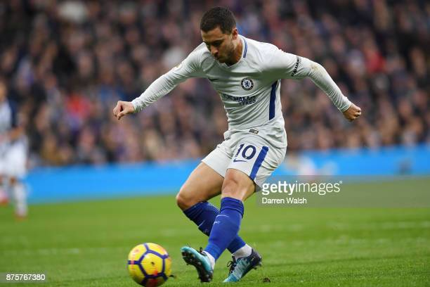 Eden Hazard of Chelsea scores his side's second goal during the Premier League match between West Bromwich Albion and Chelsea at The Hawthorns on...