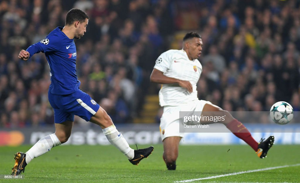 Eden Hazard of Chelsea scores his sides second goal during the UEFA Champions League group C match between Chelsea FC and AS Roma at Stamford Bridge on October 18, 2017 in London, United Kingdom.
