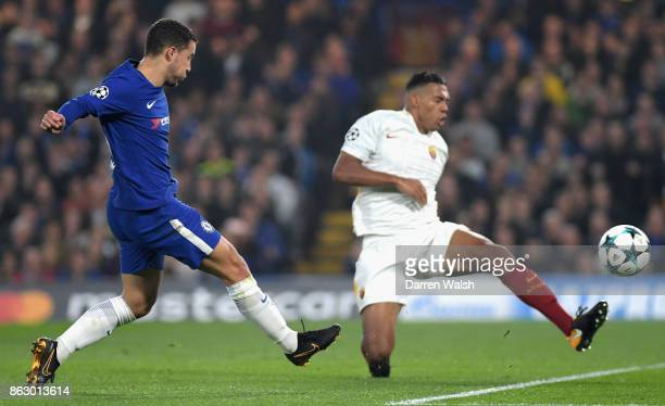 Eden Hazard of Chelsea scores his sides second goal during the UEFA Champions League group C match between Chelsea FC and AS Roma at Stamford Bridge...