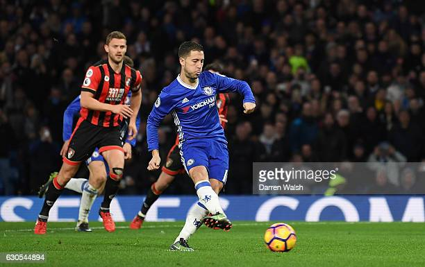 Eden Hazard of Chelsea scores his sides second goal from the penalty spot during the Premier League match between Chelsea and AFC Bournemouth at...