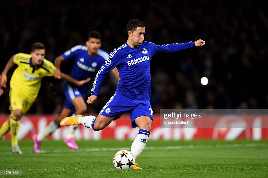 Eden Hazard of Chelsea scores his team's fift goal from the penalty spot during the UEFA Champions League Group G match between Chelsea FC and NK Maribor at Stamford Bridge on October 21, 2014 in London, United Kingdom.