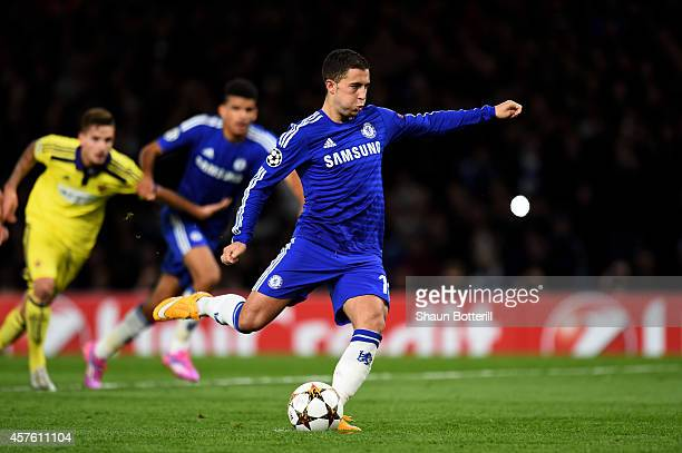 Eden Hazard of Chelsea scores his team's fift goal from the penalty spot during the UEFA Champions League Group G match between Chelsea FC and NK...