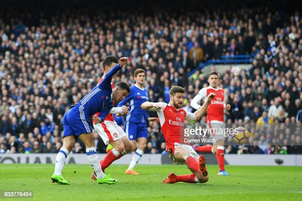 Eden Hazard of Chelsea scores his team's second goal during the Premier League match between Chelsea and Arsenal at Stamford Bridge on February 4...