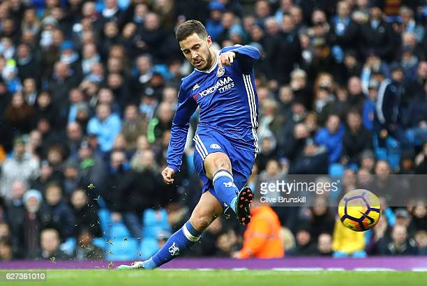Eden Hazard of Chelsea scores his team's third goal during the Premier League match between Manchester City and Chelsea at Etihad Stadium on December...