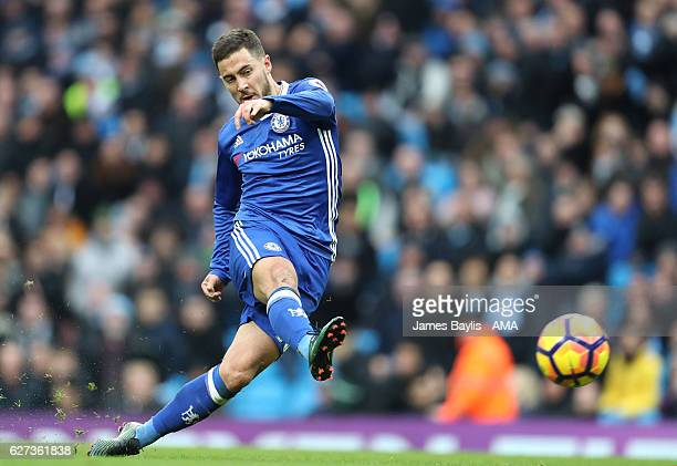 Eden Hazard of Chelsea scores his team's third goal to make the score 13 during the Premier League match between Manchester City and Chelsea at...