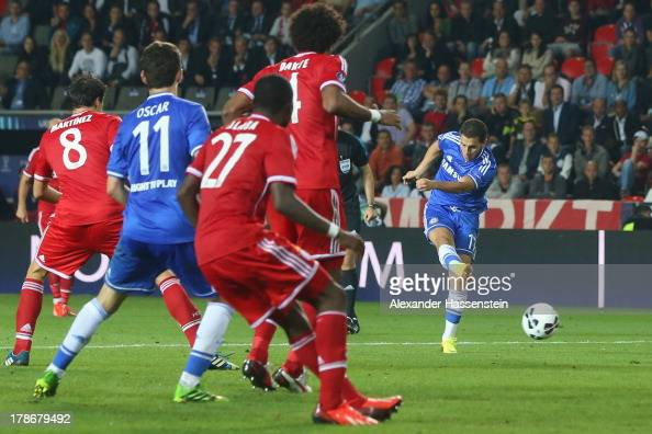 Eden Hazard of Chelsea scores the 2nd team goal during the UEFA Super Cup between FC Bayern Muenchen and Chelsea FC at Stadion Eden on August 30 2013...